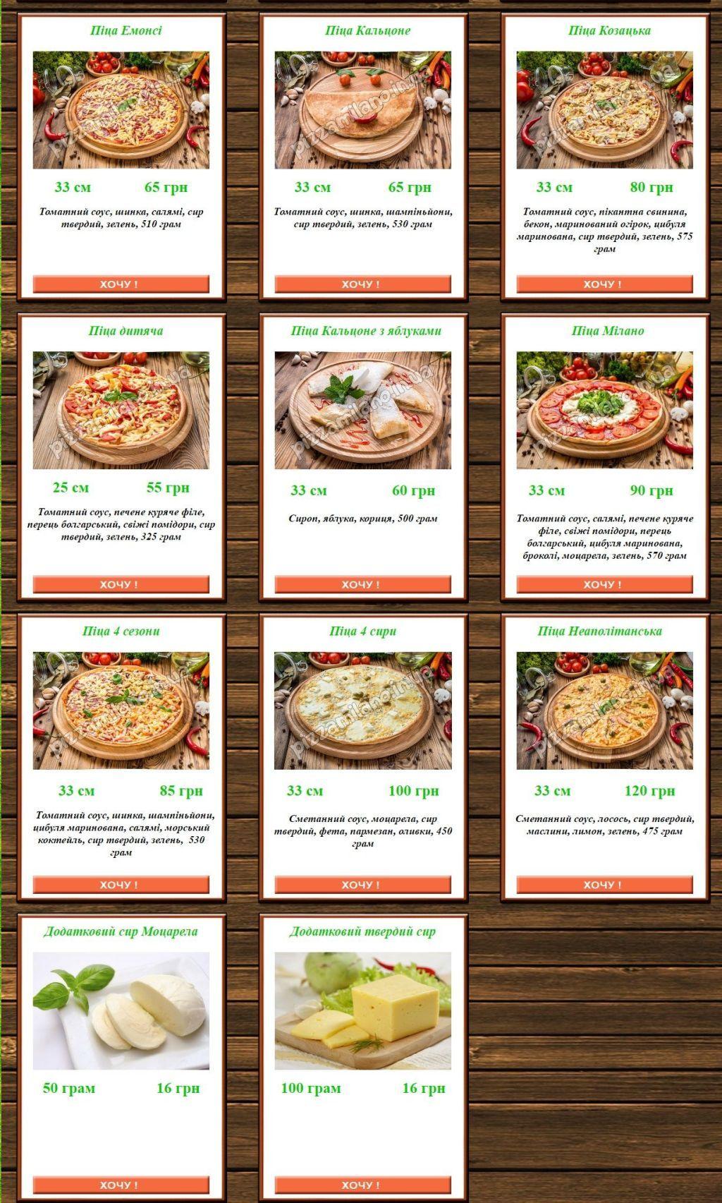 Меню Milano, кафе-піцерія - сторінка 2