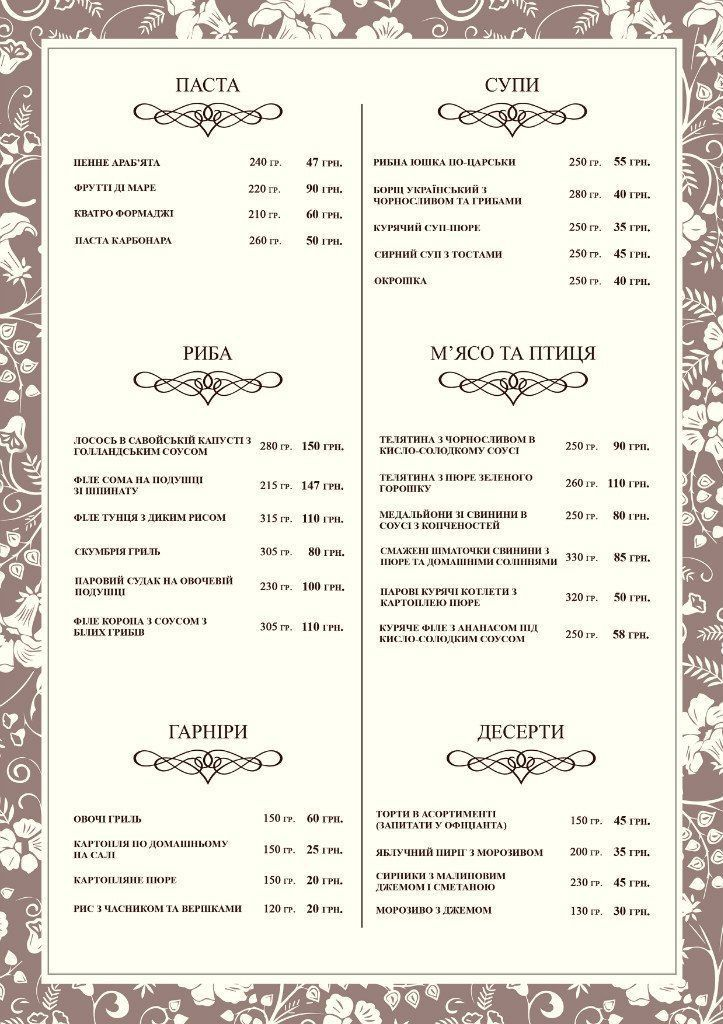 Меню The FARE, restaurant - сторінка 7