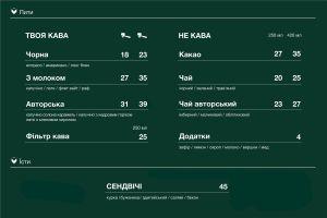 Меню My Kava, кав'ярня - сторінка 1
